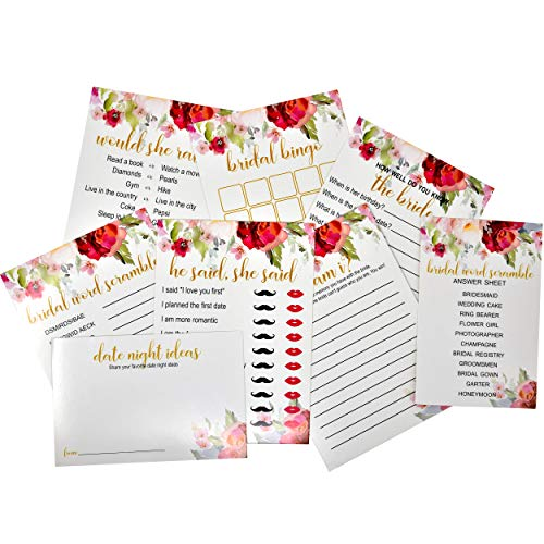 6 Floral Bridal Shower Games for Wedding Engagement Party Decorations 50 of each - Total 300 Games Includes He Said She Said, Bingo, Would She Rather, Who Am I, Word Scramble, Date Night Ideas