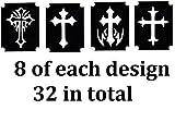Cross Collection (32 Cross Tattoo Henna Glitter Stencils)