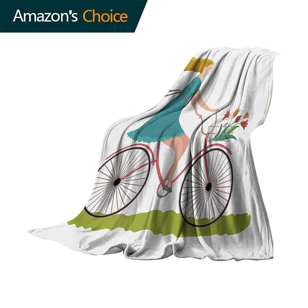 vanfan-home Bicycle Swaddle Blanket,Young Woman on Bike with Basket of Tulip Flowers Riding in The Spring Countryside Lightweight Extra Soft Skin Fabric Not Allergic (60''x35'')-Multicolor by vanfan-home (Image #4)