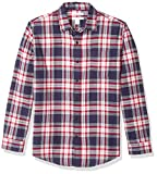 Amazon Essentials Men's Regular-Fit Long-Sleeve Plaid Flannel Shirt, Red/White/Blue, X-Small