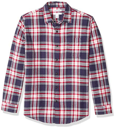 - Amazon Essentials Men's Regular-Fit Long-Sleeve Plaid Flannel Shirt, Red/White/Blue, Small