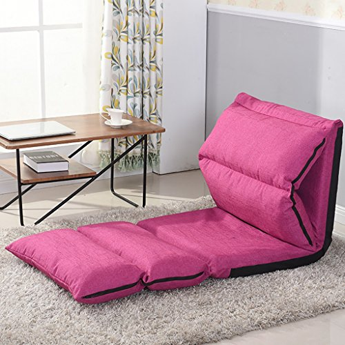 Beanbag Creative Bedroom Folding Bed With Backrest Removable And Washable Folding Single Rectangular Sofa (Color : Rose Red)