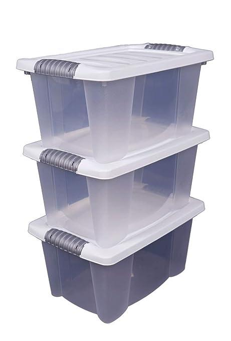 Extrem 3x Stapelbox mit Deckel 14 Liter - transparent mit weißem Deckel KY31