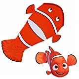 Aodicon Fish Blanket For Children, Pocket Style Kids Tail Blanket Made of Extra-Soft and Durable Fabric Fish Design Warm and Comfortable, Sleep Sacks for Movie Night, Sleepovers, Camping