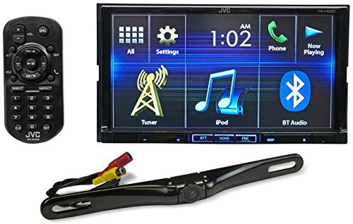 """Package: JVC KW-V420BT 7"""" Double-Din DVD Receiver with Built-In Bluetooth, USB, and iPhone/Android Controls + Rockville RBC5B Black Rearview Backup License Plate Bar Camera"""
