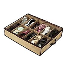 12 Pairs Tidy Under Bed Fabric Shoe Storage Organizer Box Closet Bag