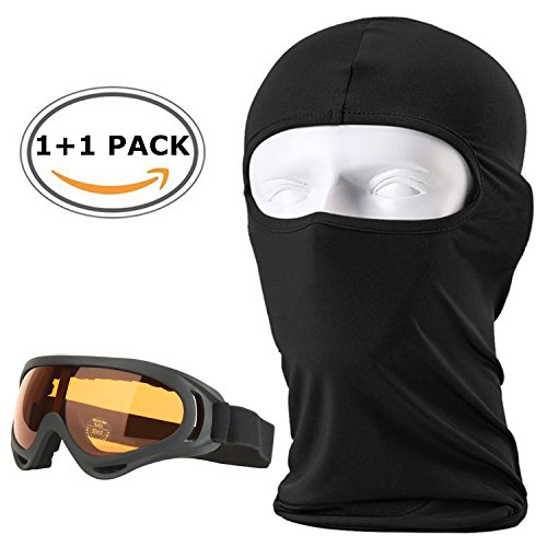 Balaclava Ski Face Mask,Outdoor Windproof Ski Face Mask Motorcycle Cycling Bike,with Anti Fog Ski Goggles,Neck Warmer Tactical Balaclava Hood Polyester Fleece for Women Men Youth Kids By - Goggles Amazon Cycling