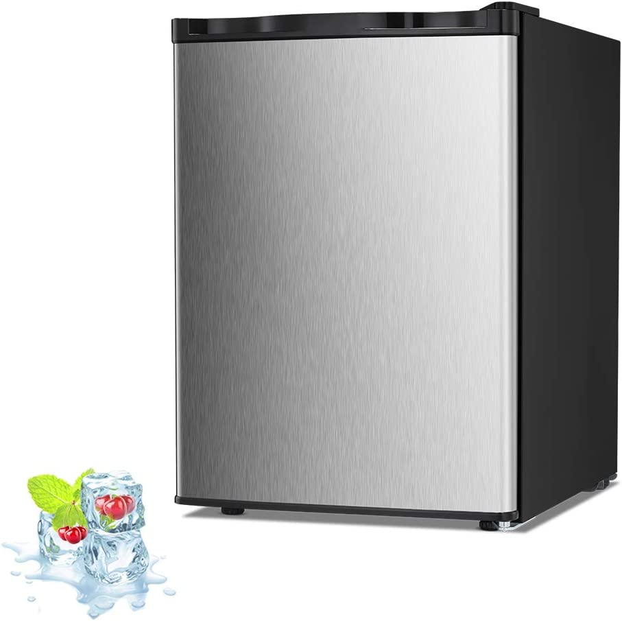 Kismile 2.1 Cu.ft Upright Freezer with Compact Reversible Single Door,Removable Shelves Free Standing Mini Freezer with Adjustable Thermostat for Home/Kitchen/Office (Stainless steel, 2.1 cu.ft)