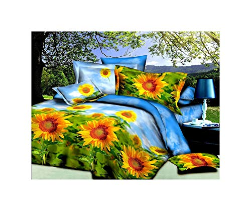 (HUAJIE 4 Piece Set Luxury Soft 3D Print Flower Pattern Bed Sheet Set, Summer Light Sunflower Sea(1 Flat Sheet,1 Fitted Sheet,2 Pillow Shams) (King, Sun Flower))