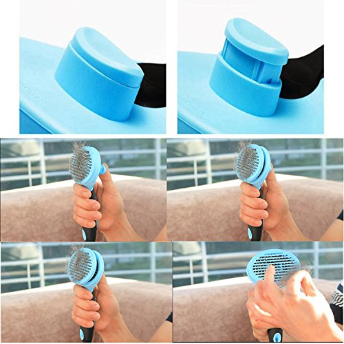 Dog Grooming Brush Deshedding Tool Rake, Retractile Self-Cleaning Rounded Pins Slicker Brush Rake for Dogs Cats and Horses, Easy to Clean, Dog and Cat Massage-Suitable for Long or Short Hair durable service