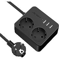 JSVER Stekkerdoos USB met 2 Stekkers , Overspanningsbeveiliging met 3 USB (15,5 W) USB Stopcontactadapter voor kantoor…