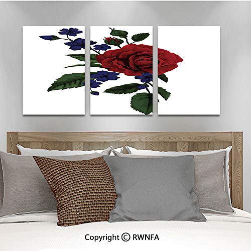 Canvas Wall Art HD Rosebud with Little Blossoms Leaves Love and Passion Theme Artful Modern Canvas Prints Painting Artworks Oil Painting Decorative,15.7
