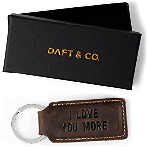 Daft & Co. I Love You More. Premium Genuine Leather Keychain & Gift Box