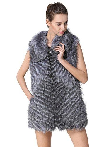 MEEFUR mujeres de invierno aut¨¦ntico de pieles largas chalecos vuelta hacia abajo del cuello Zipper-cerrado chalecos de piel de zorro de plata Grey