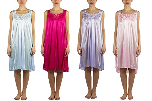 JOTW 4 Pack of Silky Lace Accent Sheer Nightgowns - Medium to 4X Available (9006) (2X, Pack B)