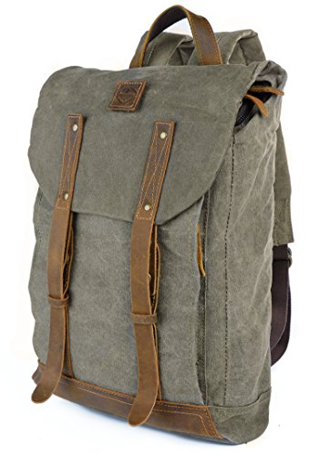 Vintage Water-repellent Waxed Canvas & Leather 15.4