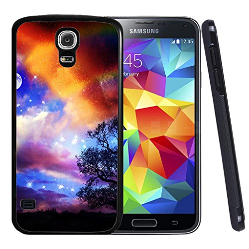 Price comparison product image Galaxy S4 Case,  Customized Black Soft Rubber TPU Samsung Galaxy S4 Case Moon accompany stars to be a amazing sky
