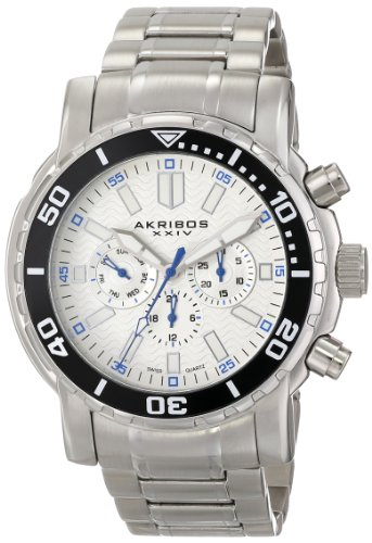 Akribos XXIV Men's AK675WT Grandiose Swiss Quartz Multifunction White Dial Silver-tone Stainless Steel Bracelet Watch