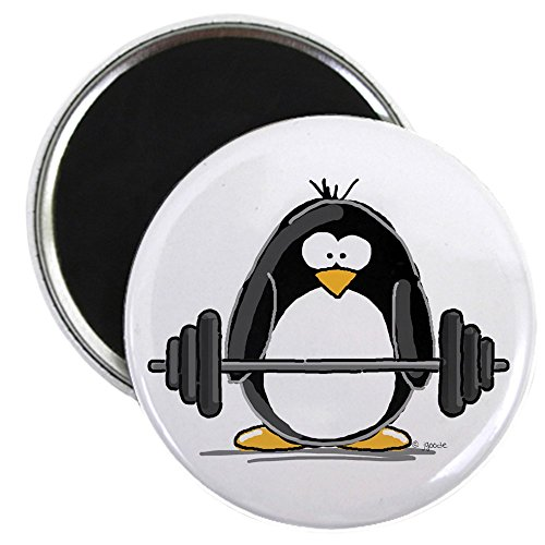 """CafePress - Weight lifting penguin Magnet - 2.25"""" Round Magnet, Refrigerator Magnet, Button Magnet Style"""