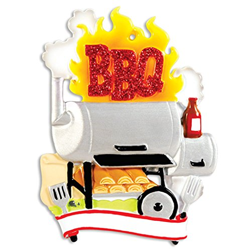 Personalized BBQ Smoker Christmas Tree Ornament 2019 - Grilling Out Cooker Ready to Barbecue Spatula Ketchup Bread Lover Dad Family Activity Master Hobby Gridiron Backyard Year - Free - Barbecue Sauce Personalized