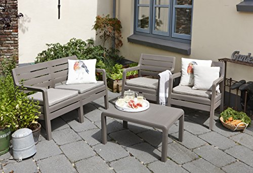 Allibert by Keter Delano Outdoor 4 Seater Lounge Garden Furniture set -  Cappuccino with Sand Cushions Amazon.co.uk Garden & Outdoors