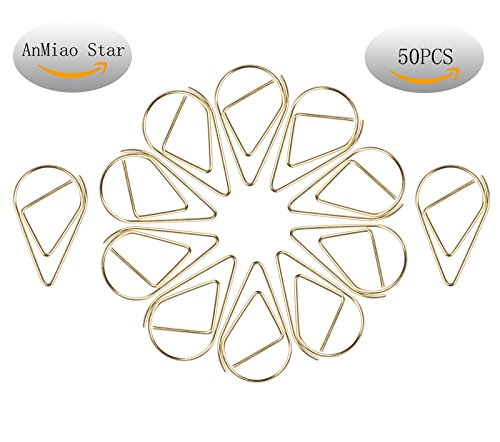 Metal Drop (AnMiao Star Small Metal Drop-shaped Paper Clip , Lovely Office Supplies Decorations , pack of 50 (Gold))