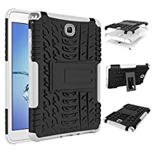 For Samsung Galaxy Tab A 8-Inch Case SM-T350 /T355 (2015) Cool Tablet Cases Rugged Impact Armor Hybrid Tablets Protective Cover Shell Dual-Layer Detachable Shockproof White