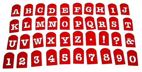 Perfect Brownie Pan Stencil Set of 40 Pieces Including Alphabets, Numbers & Signs. Plastic Letter Stencils, Plastic Stencil Set. (Children Letter Stencils)