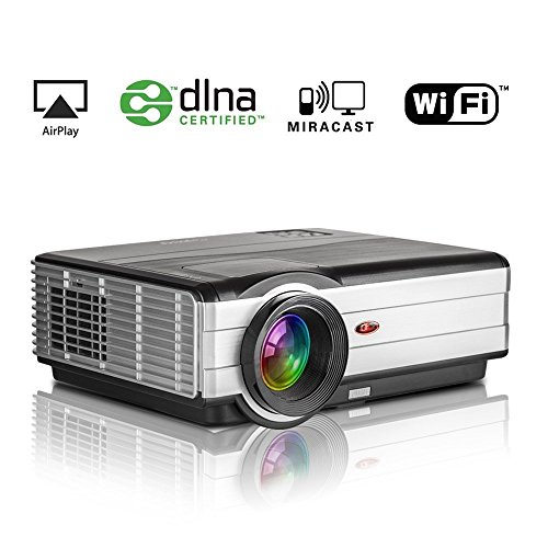 Wifi HD Projector Home Cinema 1280x800 Native Support Airplay Miracase DLNA Wireless Video Projector for iPad Smartphone HDMI USB VGA Audio for Indoor Outdoor Entertainment Computer Blu ray Player by EUG