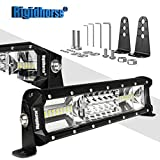 2001 gmc sierra headlight bracket - LED Light Bar Rigidhorse Triple Row 12 Inch 108W LED Work Light Spot Flood Combo LED Lights LED Bar Driving Lights Jeep Off Road Lights SUV Lighting With Adjustable Mounting Bracket