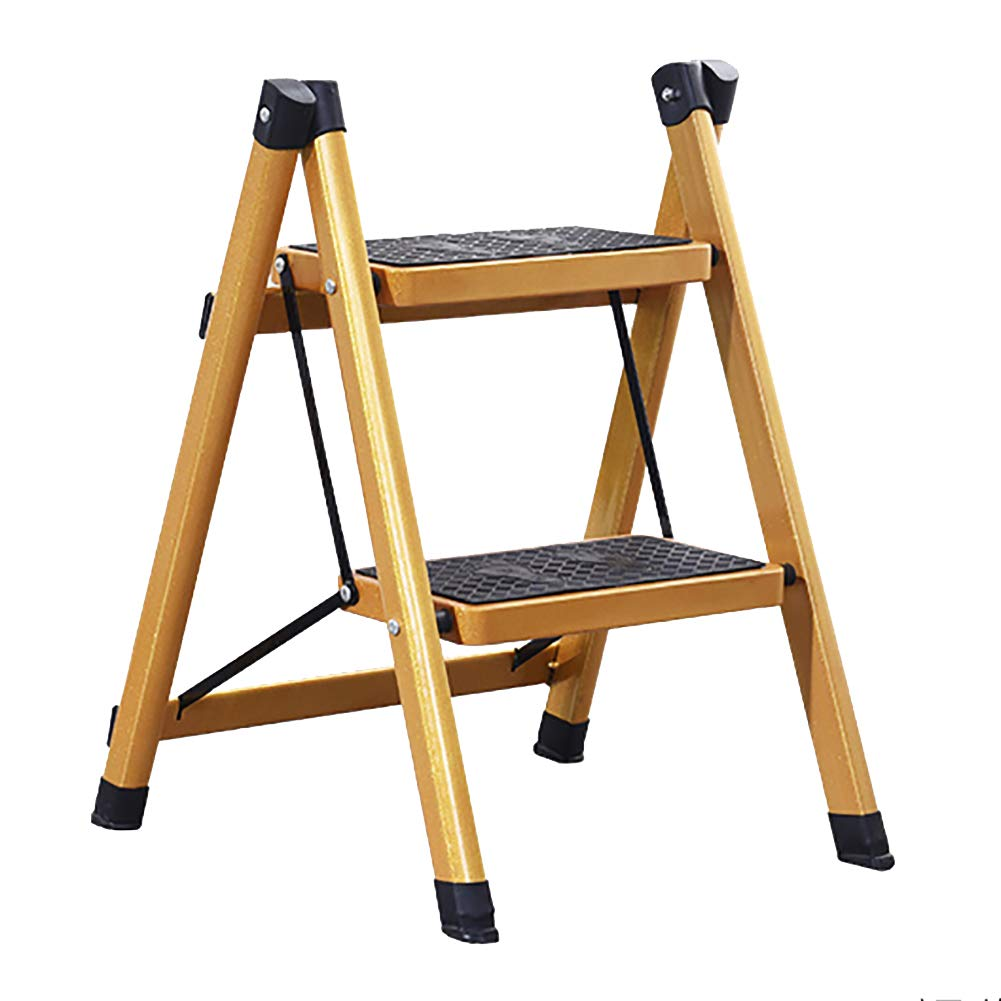 2 Step Ladder GAIXIA-Ladder stool Ladder Household Folding Ladder Stool - Two-Step Three-Ladder Ladder, Non-Slip Pedal Ladder, Insulated Ladder, Collapsible Portable gold (Size   3 Step Ladder)