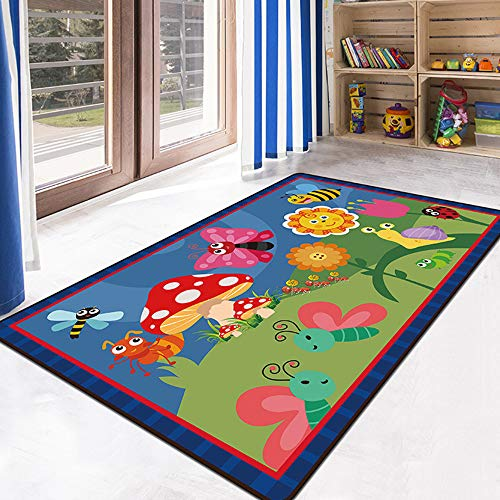 USTIDE Butterfly Sunflower Kids Rug 5'x7' Animals Educational Area Rug Colorful Children Classroom Area Rug