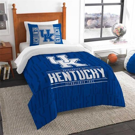 Northwest NCAA Kentucky Wildcats Ultimate 10pc Ensemble: Includes twin comforter, sham, twin flat sheet, twin fitted sheet, pillowcase, rug, toss pillow, throw, and 2 curtain panels