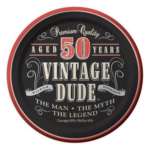 Creative Converting 24 Count Vintage Dude 50th Birthday Round Dessert Plates]()