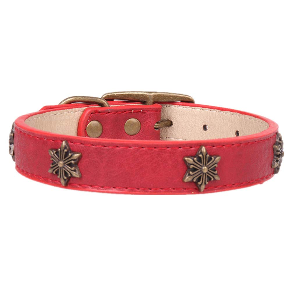 Axgo Leather Soft Dog Collar Bronze Star Decoration Adjustable Puppy Lead Collar for Medium Large Dog, Red