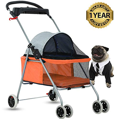 4 Wheels Pet Stroller Cat Dog Cage Stroller Protable Travel Folding Carrier Cart Waterproof Buggy Doggie Dog Stroller Jogger with Cup Holders for Small-Medium Dog, Cat – Orange