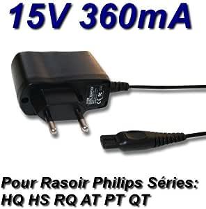 Adaptador de alimentación y cargador de 15 V para afeitadora Philips QT4015, QC5115, QC5345, QC5340 y QC5365: Amazon.es: Electrónica