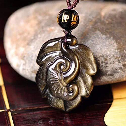 (SLOGB Necklace Gold Natural Obsidian Pendants Hand Carved Golden Leaf Lucky Amulet Pendants Necklace Jewelry,Black,3.12.21.2cm)