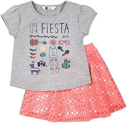 Petit Lem Little El Fiesta Girl 2pc Set Top and Skirt Knit