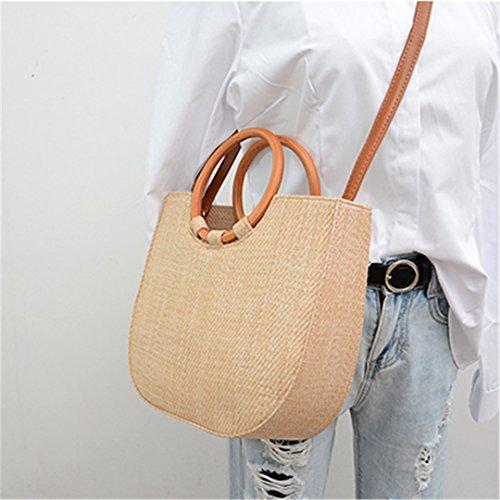 Bohemia Summer Straw Bag Beach Bag Ladies String Wooden Ring Wooden Handle Casual Knitting Tote Bag Woven Rattan Bag Khaki Khaki
