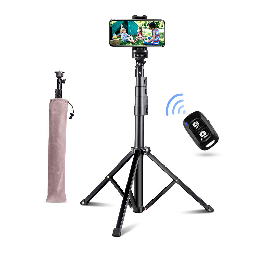 51'' Selfie Stick Tripod, Aureday Portable Adjustable Extendable Phone Tripod Stand with Phone Mount & Wireless Remote, Fits iPhone& Android Phone by Aureday