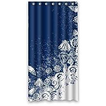 "Custom Waterproof Bathroom Shower Curtain 36"" x 72"" Ocean Theme Sea Life Seashell Shell Conch Navy Blue"