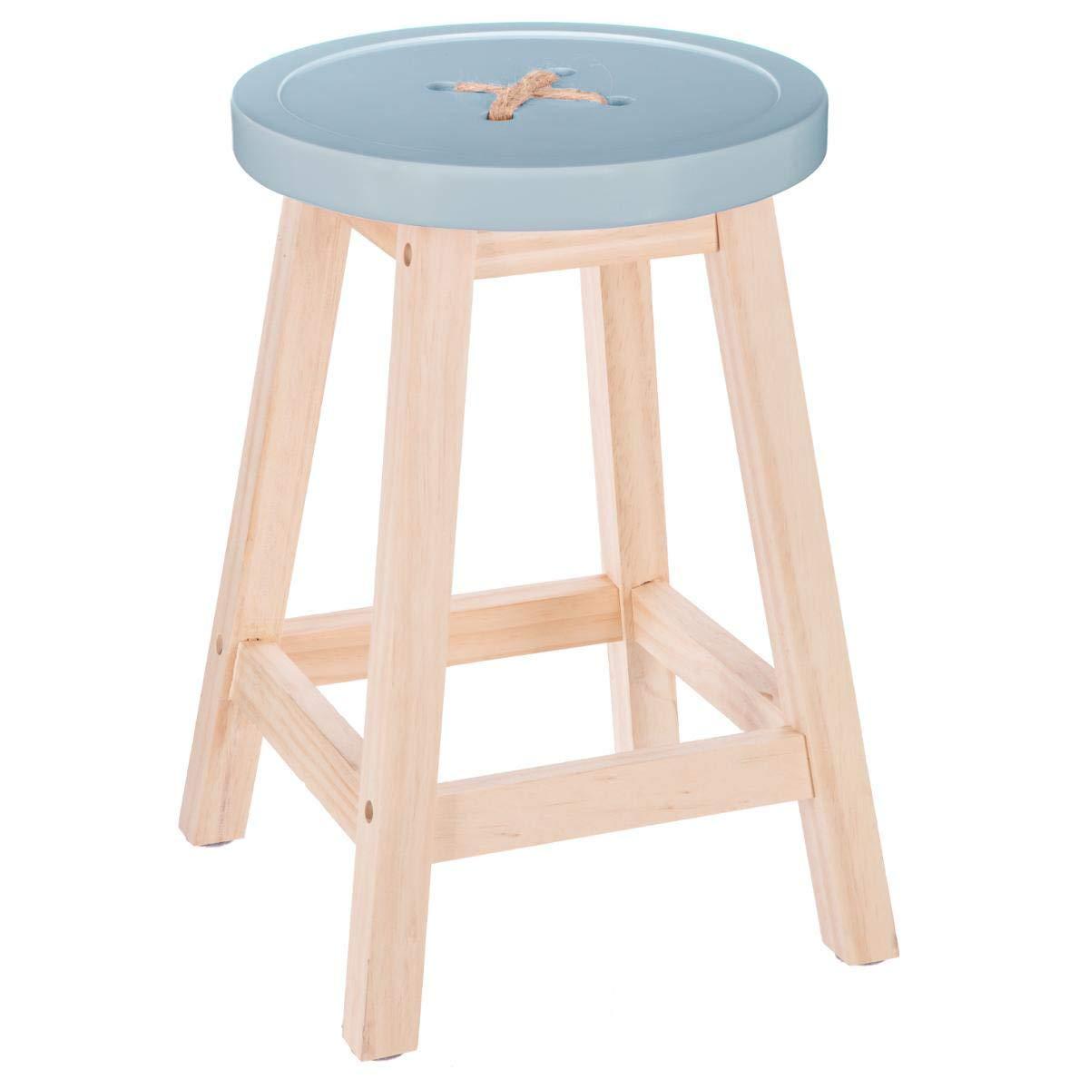 """Atmosphera – Sgabello robusto con piedi in legno naturale e seduta a forma di """"bottone"""". Colore: BLU"""