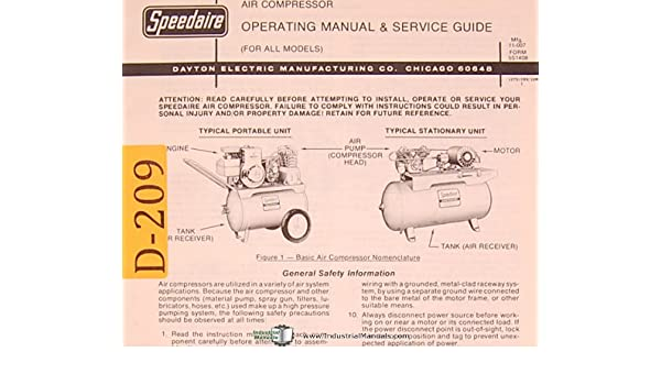 Dayton Air Compressor, All Models, Operations and Service ... on