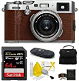 FUJIFILM X100F Digital Camera (64GB 6 Piece Bundle, Brown)