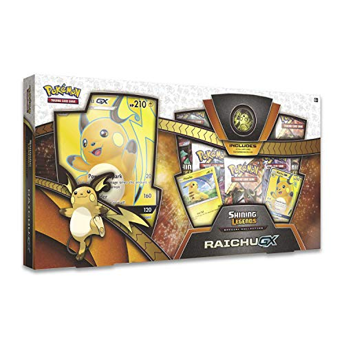Pokemon TCG: Shining Legends Special Collection Box Trading Card Set, 5 Booster Packs, 1 Rare Foil Raichu-GX Card, 1 Foil Pikachu Promo Card, 1 Oversize Foil & More (Pokemon Trading Card Box)