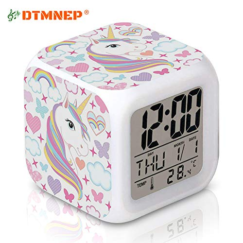 This Is Halloween Ringtone (DTMNEP Unicorn Alarm Clock for Kids, LED Digital Bedroom Alarm Clock Easy Setting Cube Wake Up Clocks with 4 Sided Unicorn Pattern Soft Nightlight Large Display Ascending)
