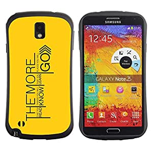 Fuerte Suave TPU GEL Caso Carcasa de Protección Funda para Samsung Note 3 N9000 N9002 N9005 / Business Style The More You Learn Message