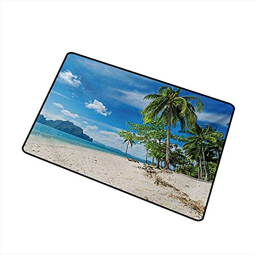 Axbkl Bedroom Doormat Landscape Exotic Botanic Island Near Seashore Palms Mountains Clear Open Sky Photo W30 xL39 Antifouling