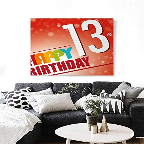 homehot 13th Birthday Canvas Wall Art for Bedroom Home Decorations Retro Style Teenage Party Invitation Graphic Design with Bokeh Effect Rays Art Stickers 28